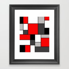 Red Black and Grey squares Framed Art Print