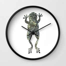 green lichen leaping frog silhouette Wall Clock