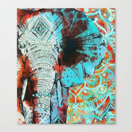Indian Sketch Elephant Blue Orange Canvas Print