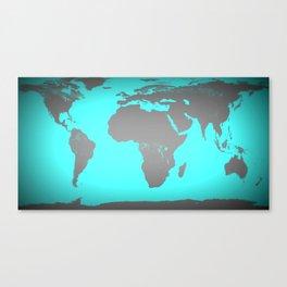 World MAp Turquoise Aqua & Gray Canvas Print