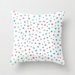 Violet aqua orange pink hand painted polka dots Throw Pillow