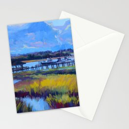 Marsh Painting of Thunderbolt, Georgia at Dawn by Katie Wall Art Stationery Cards
