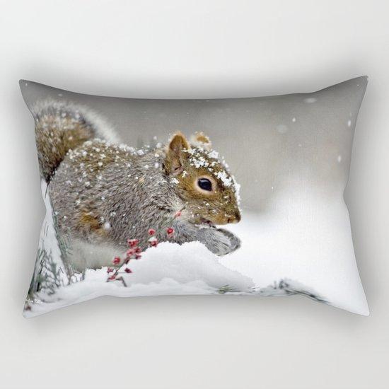 Snowy Squirrel Rectangular Pillow