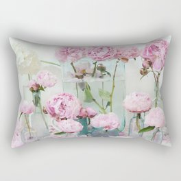 Peonies Cottage Aqua Pink Shabby Chic Watercolor Peony Prints Home Decor Rectangular Pillow