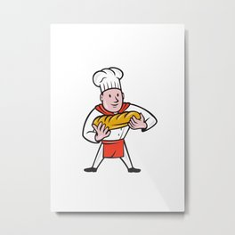 Baker Holding Bread Loaf Isolated Cartoon Metal Print