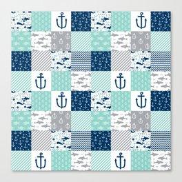 Nautical anchors sharks whales quilt cheater quilt nursery pattern art Canvas Print