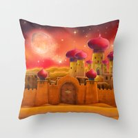aladdin Throw Pillows featuring Aladdin castle by Tatyana Adzhaliyska