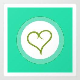 Green Heart with Love Art Print