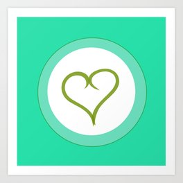 Green Heart with Love Art Print