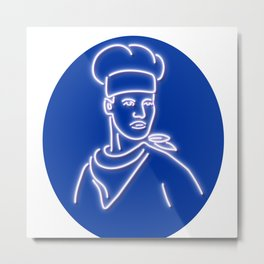 Chef Looking to Side Glowing Neon Sign Metal Print