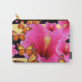 GIRLY PINK HIBISCUS MONARCH BUTTERFLIES Carry-All Pouch