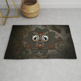 Cute little steampunk owl with floral elements Rug