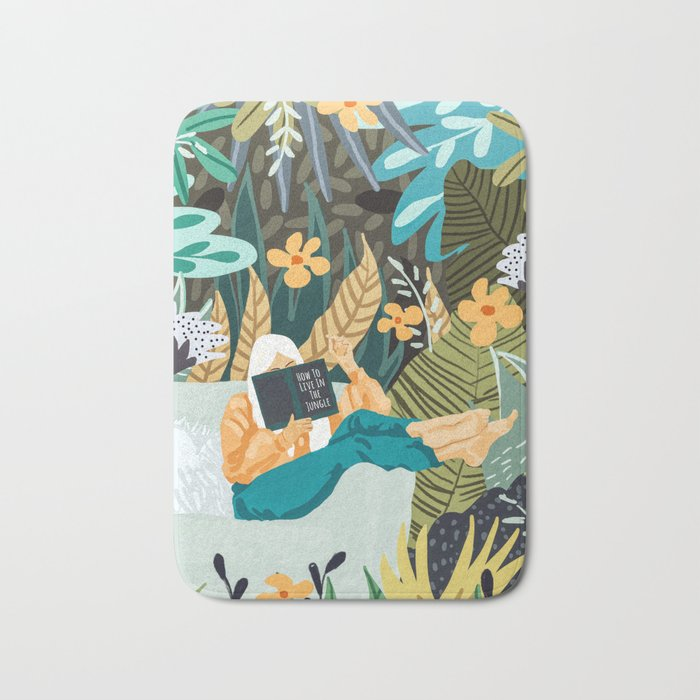 How To Live In The Jungle Illustration, Woman Travel Nature Painting Bath Mat