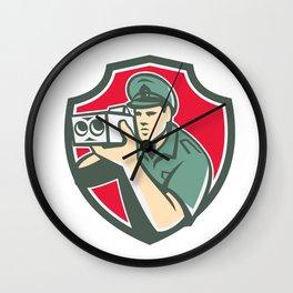 Policeman Speed Camera Shield Retro Wall Clock