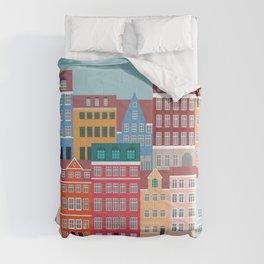 Denmark, Nyhavn, Copenhagen Travel Poster Comforters