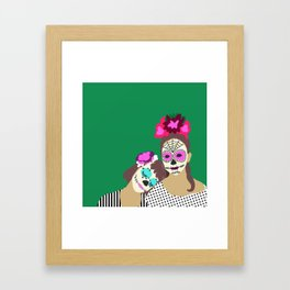 Sugar Skull Halloween Girls Green Framed Art Print