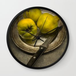 Still life with yellow quinces Wall Clock