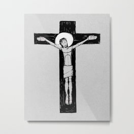 Jesus Christ at the Cross illustratio Metal Print