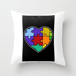 Autism Puzzle Heart Down Syndrome Trisomie 21 ADHD Throw Pillow