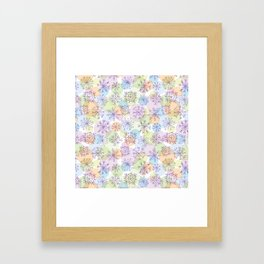 Merry Christmas pattern with purple snowflakes on light background Framed Art Print