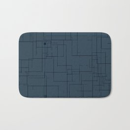 Minimualist Blue Grey Lines Design Bath Mat