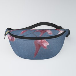 Red Fall Leaves on Navy Night Sky Fanny Pack
