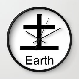 Earth Japanese Writing Logo Icon Wall Clock