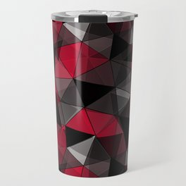 Abstract polygonal pattern.Red, black, grey triangles. Travel Mug
