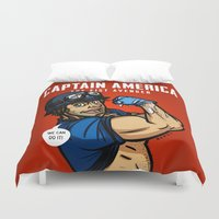 steve rogers Duvet Covers featuring Steve Rogers, The Fist Avenger by Randy Meeks