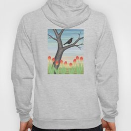 red winged blackbird and tulips Hoody