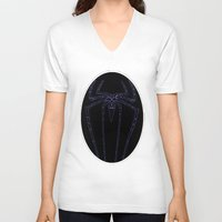 duvet cover V-neck T-shirts featuring SPIDER DUVET COVER by aztosaha