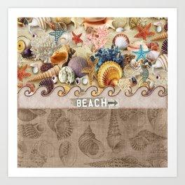 Beachcombers Seashell Paradise Art Print