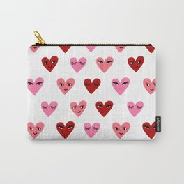 Heart love valentines day gifts hearts with faces cute valentine red and pink Carry-All Pouch