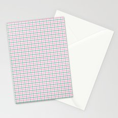 Gingham pink and forest green Stationery Cards