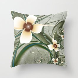 Fractal Doodadling with Flowers Throw Pillow