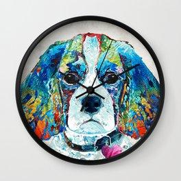 Colorful Cavalier King Charles Dog Art by Sharon Cummings Wall Clock