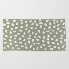 Simply Ink Splotch Lunar Gray on Green Tea Beach Towel