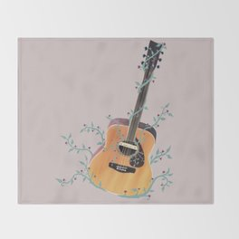 Acoustic Guitar with Vines Illustration  Throw Blanket