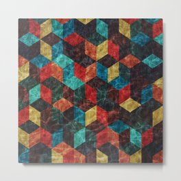 Colorful Isometric Cubes Metal Print