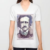 edgar allan poe V-neck T-shirts featuring Edgar Allan Poe by Germania Marquez