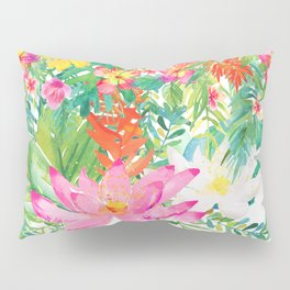 Aloha Tropical Flowers Hawaii Illustration Pillow Sham