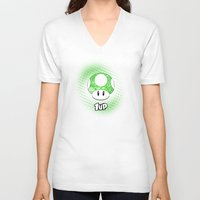 mario kart V-neck T-shirts featuring 1-UP from Mario by Art & Be