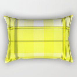 Yellow White and Gray Plaid Rectangular Pillow