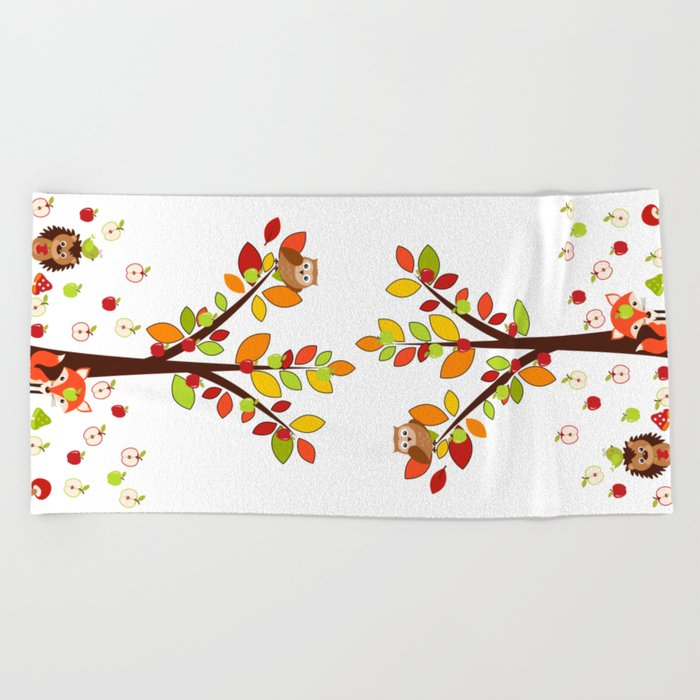 Rain Apples Beach Towel