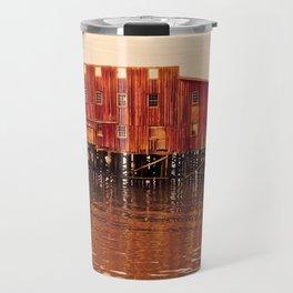 Old Red Net Shed, Building on Pier, Columbia River, Astoria Oregon Travel Mug
