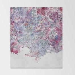 Montevideo Map Throw Blanket