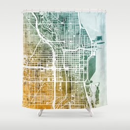 Chicago City Street Map Shower Curtain