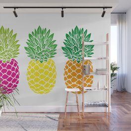 Pineapple Trio | Three Pineapples | Pineapple Silhouettes | Hot Pink | Yellow | Orange | Wall Mural
