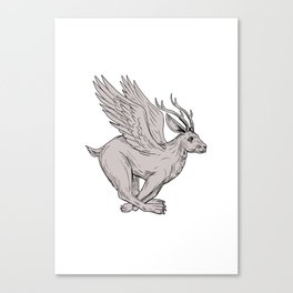 Wolpertinger Running Side Drawing Canvas Print