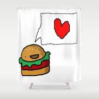 hamburger Shower Curtains featuring hamburger with love by Katharina Nachher
